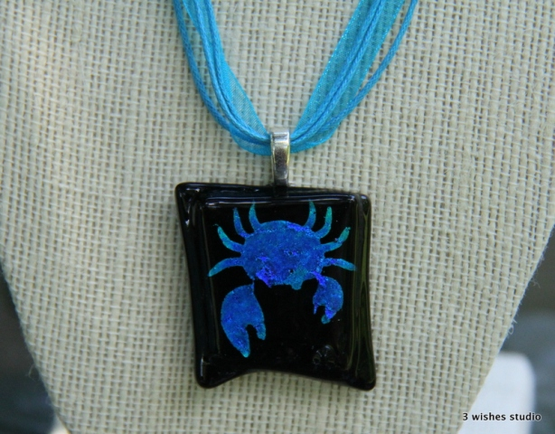 fused glass necklace crab