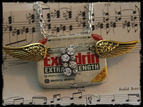 vintage tin necklace by Night Bird Creations