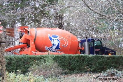 Concrete truck with local university logo