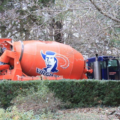 Concrete truck with local university logo