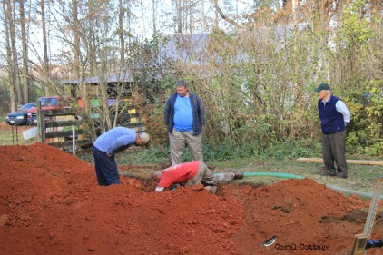 pumping out the old septic tank