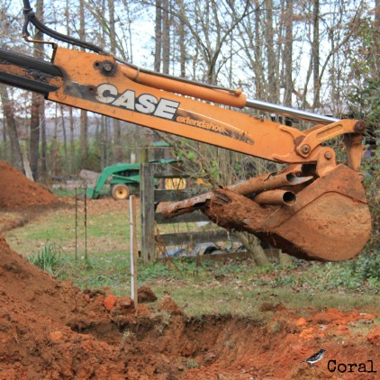 digging up the old septic pipes