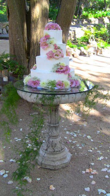 cake stand birdbath