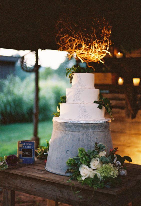 cake stand galvanized bucket