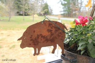 metal garden art pig