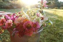 sunrise and buckets of flowers