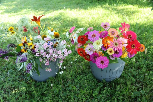 buckets of flowers
