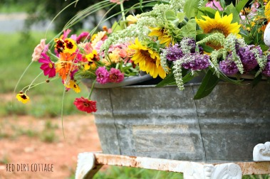 buckets of flowers for sale at farmstand