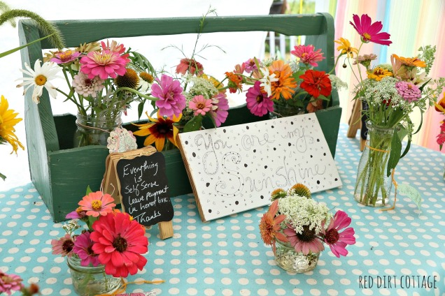 flowers in farmstand