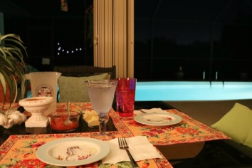 dinner by the pool