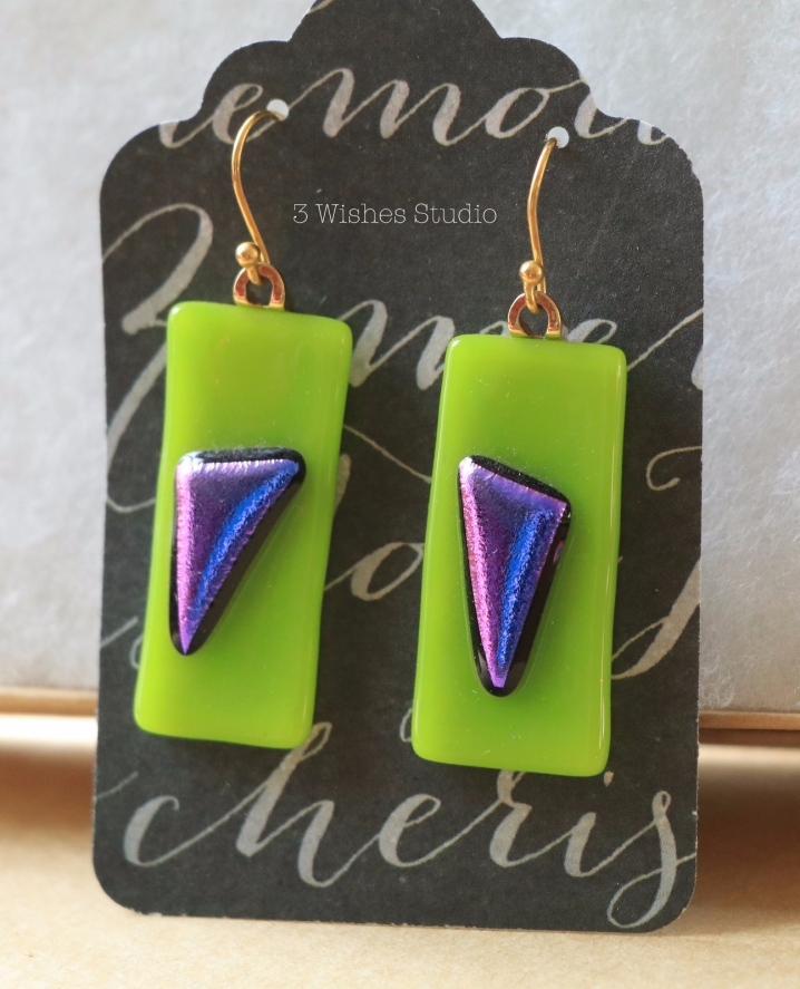 3 Wishes Studio fused glass earrings