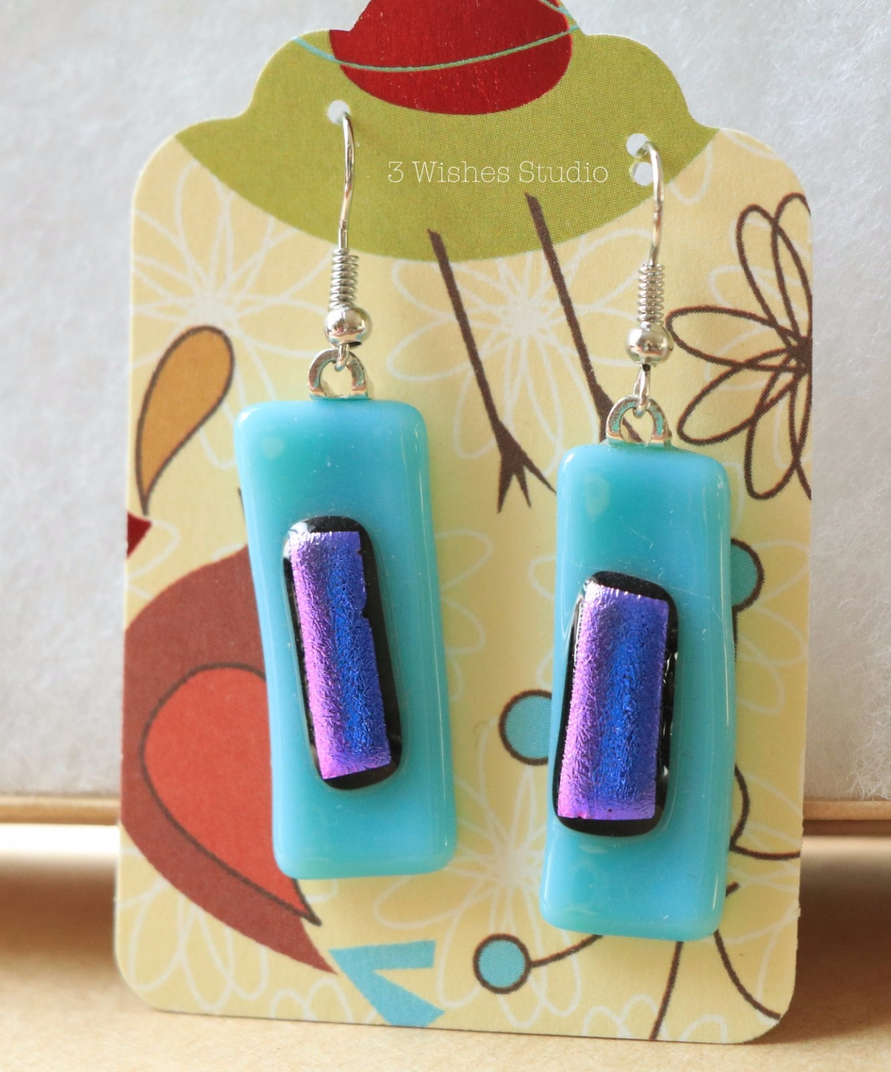 fused glass earrings 3 Wishes Studio
