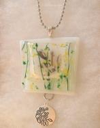 green leaves pocket necklace