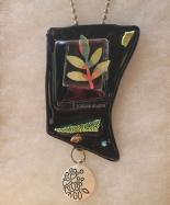 black leaves pocket necklace