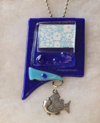 blue fish pocket necklace