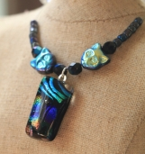 cats fused glass necklace