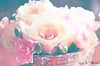 Pink roses in silver bowl