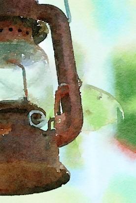 Lantern with Luna Moth