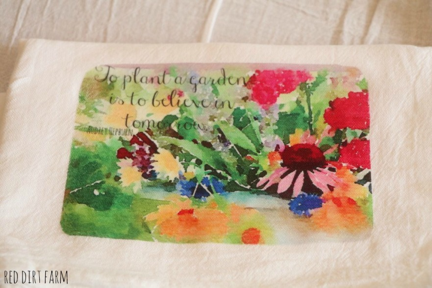 flour sack towel with my water color images