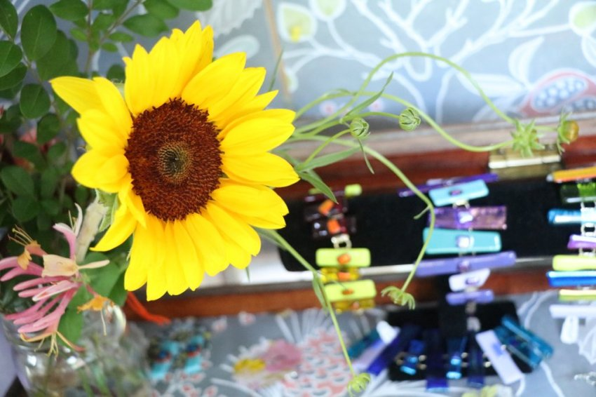 sunflowers and fused glass bracelet