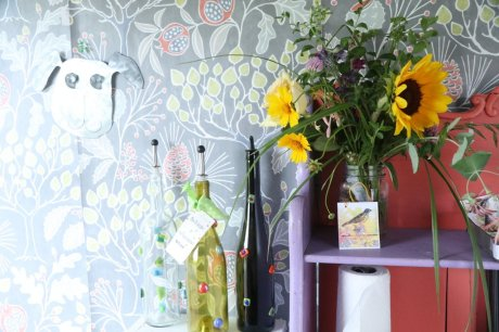 flowers and glassware