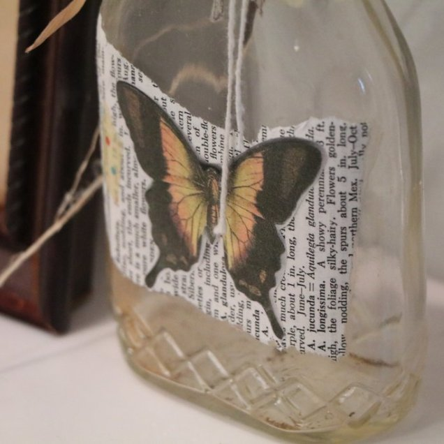 Butterfly with vintage book page