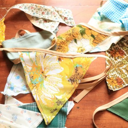 Vintage Fabric repurposed into bunting