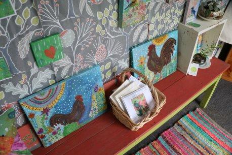 Paintings inside the art wagon