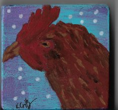 Little Red Hen acrylic painting