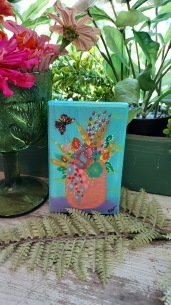 Floral still life with butterfly