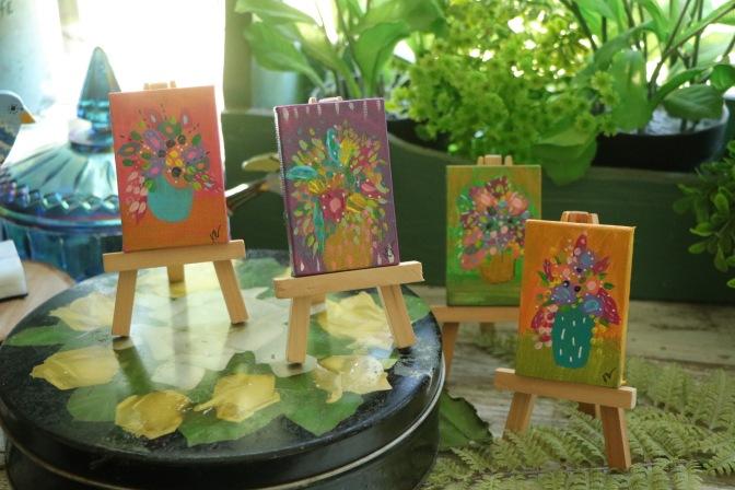 Teeny Tots Floral still life on minicanvas